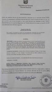 El acta firmada por la Secretaría General del Tribunal Electoral fue expedido el 20 de abril de 2015. (Crédito: Tribunal Electoral de Panamá)