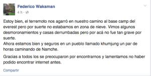 A través de su página de Facebook, Federico Waksman envió un mensaje de supervivencia a familiares y amigos. (Crédito: Facebook)