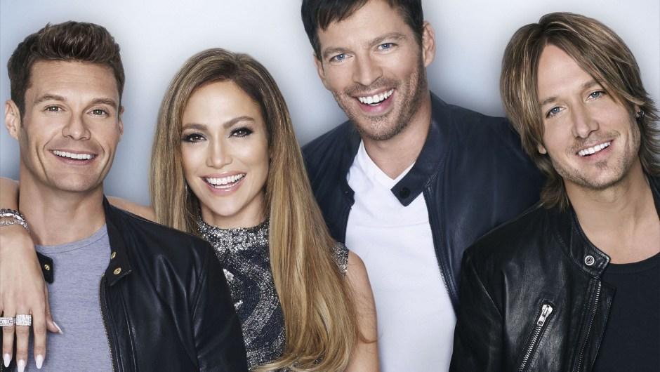 De izquierda a derecha: Ryan Seacrest, Jennifer Lopez, Harry Connick JR., y Keith Urban. (Crédito: Matthias Vriens-McGrath /FOX)
