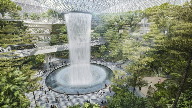 El complejo de entretenimiento Jewel del aeropuerto contará con la catarata interior más alta del mundo.