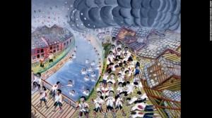 Hideo Kimura estaba en la escuela; varios de sus compañeros murieron aplastados o cayeron al río tras sufrir quemaduras por la bomba.
