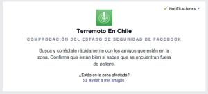 FAcebook ayuda localizar personas terremoto chile