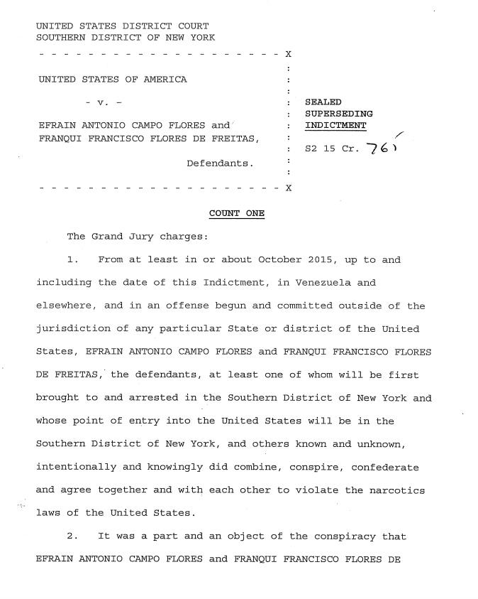 Corte de Manhattan documento de acusación a familiares de Nicolás Maduro
