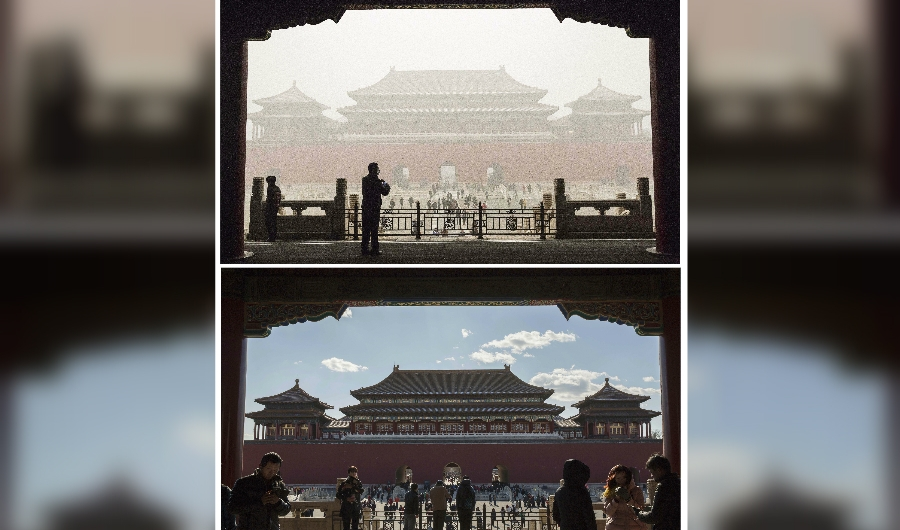 In this composite of two separate images, the Forbidden City is seen in heavy pollution, top, on December 1 and 24 hours later under a clear sky on December 2, 2015 in Beijing, China. Until a strong north wind arrived late Tuesday, China's capital and many cities in the northern part of the country recorded the worst smog of the year on November 30 and December 1, 2015 with air quality devices in some areas unable to read such high levels of pollutants. Levels of PM 2.5, considered the most hazardous, crossed 600 units in Beijing, nearly 25 times the acceptable standard set by the World Health Organization. The governments of more than 190 countries are meeting in Paris this week to set targets on reducing carbon emissions in an attempt to forge a new global agreement on climate change.(Photo by Kevin Frayer/Getty Images)