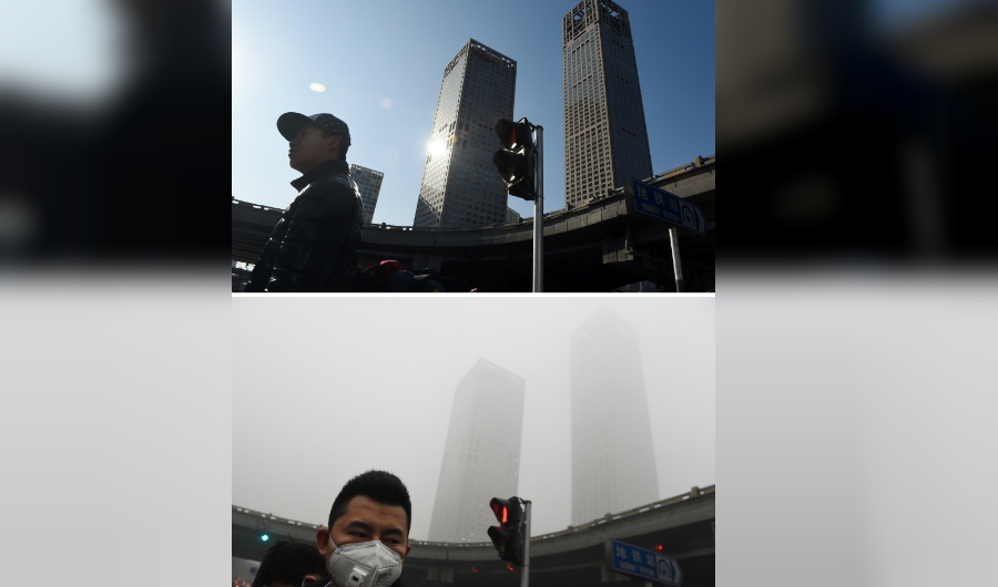 This combination image of two photographs taken on December 3, 2015 (top) and two days earlier on December 1 (bottom) shows pedestrians walking past buildings under clear skies and in heavy pollution in the central business district in Beijing. The skies cleared in Beijing on December 2 and 3, after being swathed in choking smog that was nearly 24 times safe levels earlier in the week. AFP PHOTO / GREG BAKER / AFP / GREG BAKER (Photo credit should read GREG BAKER/AFP/Getty Images)