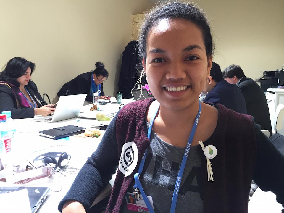 Selina Leem en la cumbre del COP21 en París.
