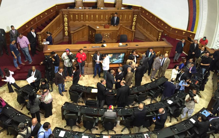 Así se veía el hemiciclo de la Asamblea Nacional de Venezuela minutos antes del ingreso de los nuevos diputados. (Crédito: CNNEspañol / Osmary Hernández)