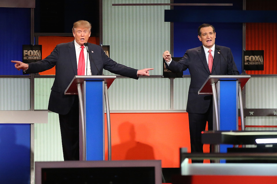 Donald Trump y Ted Cruz. (Crédito: Scott Olson/Getty Images)