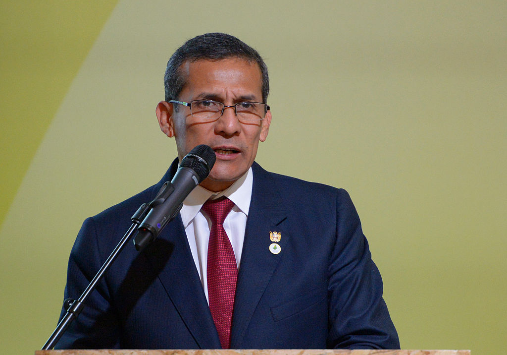 Peru's President Ollanta Humala delivers a speech during the COP 21 United Nations conference on climate change, on November 30, 2015 at Le Bourget, on the outskirts of the French capital Paris. More than 150 world leaders are meeting under heightened security, for the 21st Session of the Conference of the Parties to the United Nations Framework Convention on Climate Change (COP21/CMP11), also known as Paris 2015 from November 30 to December 11. AFP PHOTO / BERTRAND GUAY / AFP / BERTRAND GUAY (Photo credit should read BERTRAND GUAY/AFP/Getty Images)