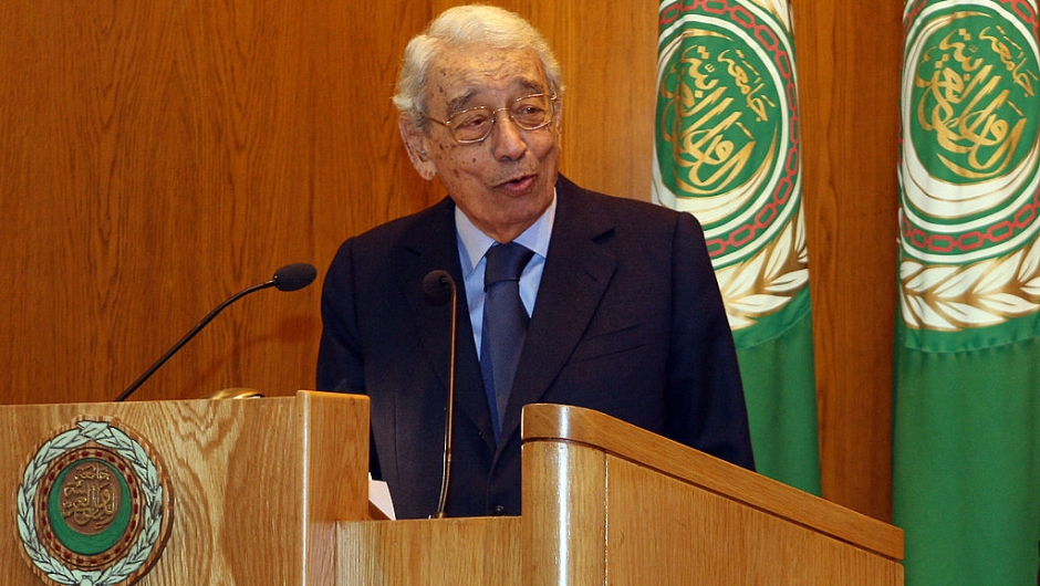 Former United Nations secretary general Boutros Boutros Ghali delivers a speech on the first day of the Arab-African Dialogue on Democracy and Human Rights at the Arab League headquarters in Cairo on December 7, 2009. AFP PHOTO/CRIS BOURONCLE (Photo credit should read CRIS BOURONCLE/AFP/Getty Images)