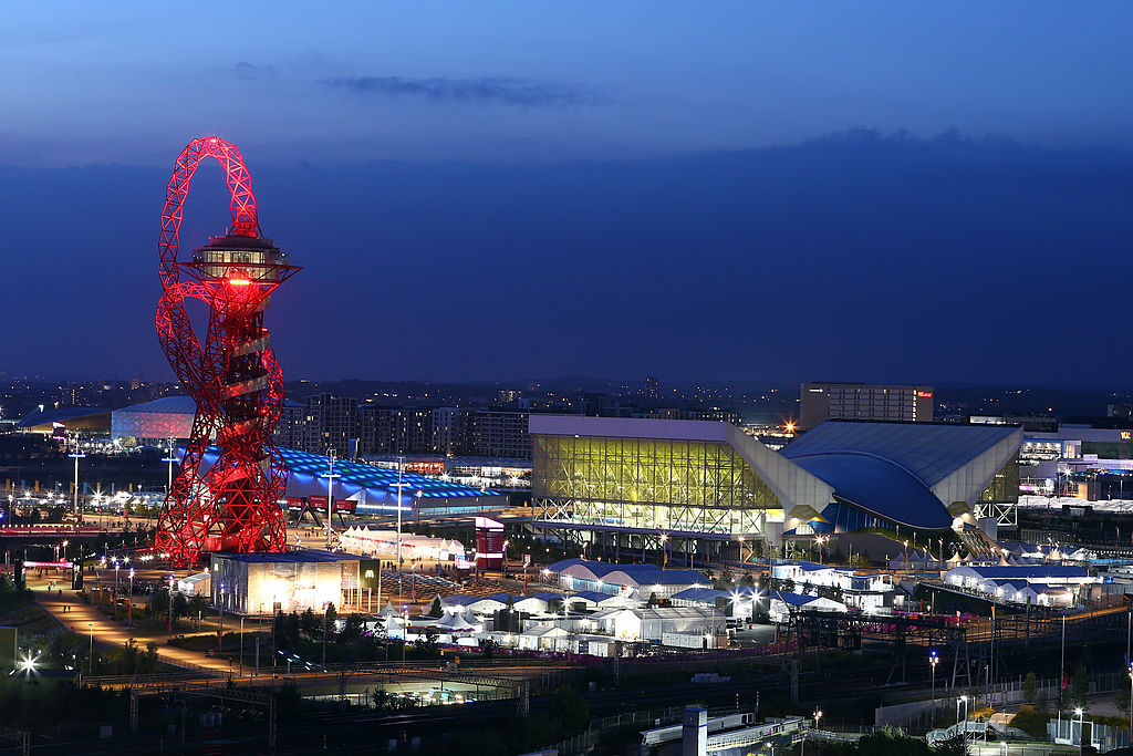LONDON, ENGLAND - AUGUST 12: A general view of the Orbit and the Aquatic centre during the closing ceremony of the 2012 London Olympic Games on August 12, 2012 in London, England. Athletes, heads of state and dignitaries from around the world have gathered in the Olympic Stadium for the closing ceremony of the 30th Olympiad. (Photo by Christof Koepsel/Getty Images)