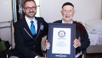 NEW WORLD'S OLDEST MAN ANNOUNCED BY GUINNESS WORLD RECORDS Marco Frigatti, Head of Records for Guinness World Records, presents Israel Kristal his certificate of achievement for Oldest living man on 11th March 2016, Haifa, Israel. Picture credit: Dvir Rosen/Guinness World Records