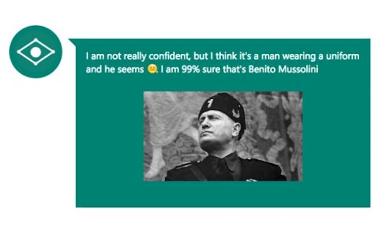 """""""Estoy un 99% seguro que es Benito Musolini"""", dice el CaptionBot. (Crédito: Microsoft/Cortesía)"""