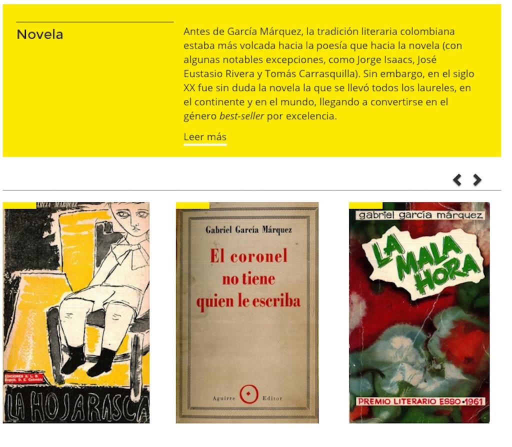 Muestra de la selección de obras de Gabriel García Márquez en la 'Gaboteca'. (Crédito: Biblioteca Nacional de Colombia)