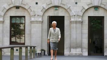 International Monetary Fund (IMF) Managing Director Christine Lagarde arrives at the Treasury Office in central London on May 13, 2016, ahead of a press conference with British Chancellor of the Exchequer George Osborne. The International Monetary Fund warned Friday that Britain's potential exit from the European Union would weigh on economic activity and spark markets volatility. Lagarde, unveiling the global lender's latest health check on the British economy just six weeks before Britain votes on whether to remain in the EU, added that Brexit could push the country into recession, echoing comments from Bank of England (BoE) chief Mark Carney. / AFP / POOL / PETER NICHOLLS (Photo credit should read PETER NICHOLLS/AFP/Getty Images)