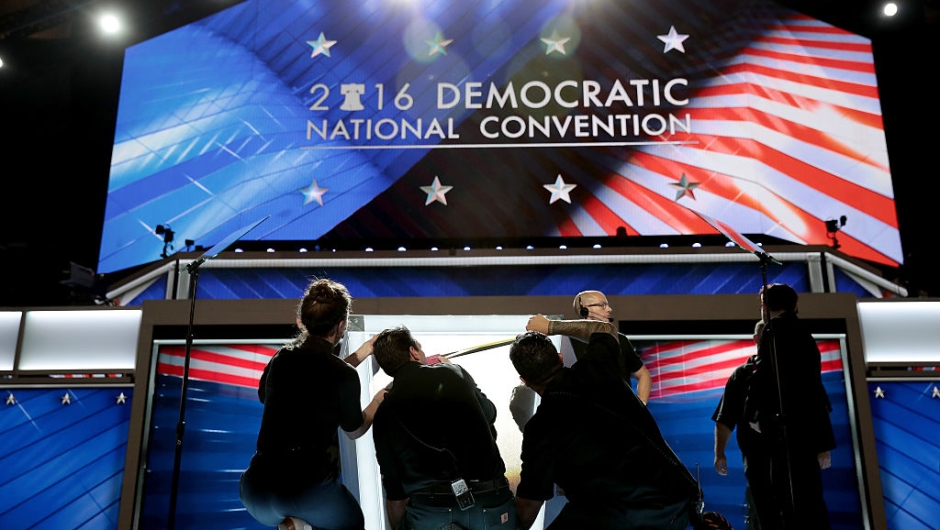 PHILADELPHIA, PA - JULY 25: on the first day of the Democratic National Convention at the Wells Fargo Center, July 25, 2016 in Philadelphia, Pennsylvania. An estimated 50,000 people are expected in Philadelphia, including hundreds of protesters and members of the media. The four-day Democratic National Convention kicked off July 25. (Photo by Drew Angerer/Getty Images)