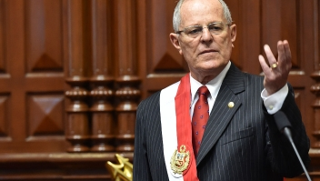 """Pedro Pablo Kuczynski gives a speech after sworning in as Perus President, at the National Congress building in Lima on July, 28, 2016. Kuczynski, who will be sworn in Thursday as president of Peru, says he will hit the ground running after a long career as a Wall Street banker that gave him the moniker """"El Gringo. """"Kuczynski, 77, defeated Keiko Fujimori, the daughter of a jailed former president, in a hard-fought presidential election last month that was decided by a razor-thin margin. / AFP / CRIS BOURONCLE (Photo credit should read CRIS BOURONCLE/AFP/Getty Images)"""