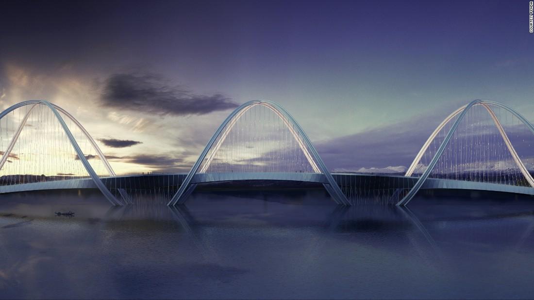 Puente San Shan diseñado por Penda, concepto (Beijing, China) – Esta estructura curvilínea, un concepto de la firma arquitectónica Penda, fue diseñado para conectar el norte de Beijing a las sedes olímpicas de los Juegos de Invierno de 2022 en el distrito vecino de Zhangjiakou.