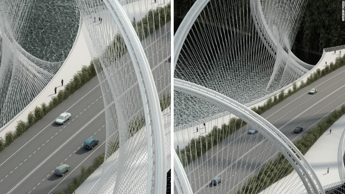 Cables de acero conectan la cubierta de los arcos del puente.