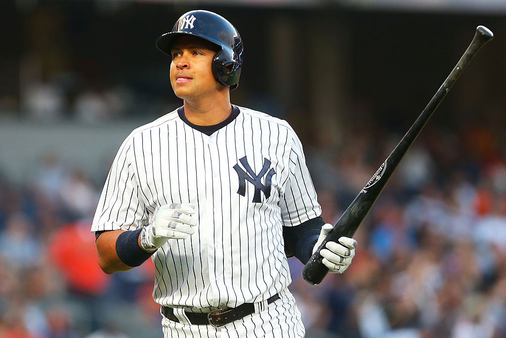 NEW YORK, NY - JULY 22: Alex Rodriguez #13 of the New York Yankees reacts after lining out to left in the second inning against the San Francisco Giants at Yankee Stadium on July 22, 2016 in the Bronx borough of New York City. (Photo by Mike Stobe/Getty Images)