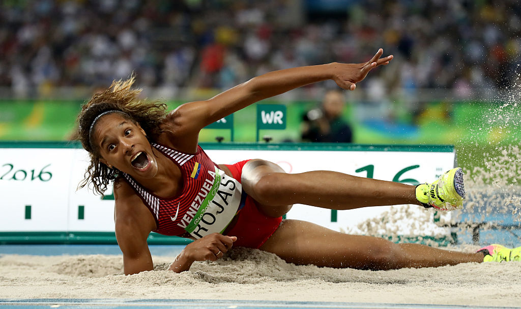 RIO DE JANEIRO, BRAZIL - AUGUST 14: Yulimar Rojas of Venezuela competes in the Women's Triple Jump final on Day 9 of the Rio 2016 Olympic Games at the Olympic Stadium on August 14, 2016 in Rio de Janeiro, Brazil. (Photo by Alexander Hassenstein/Getty Images)