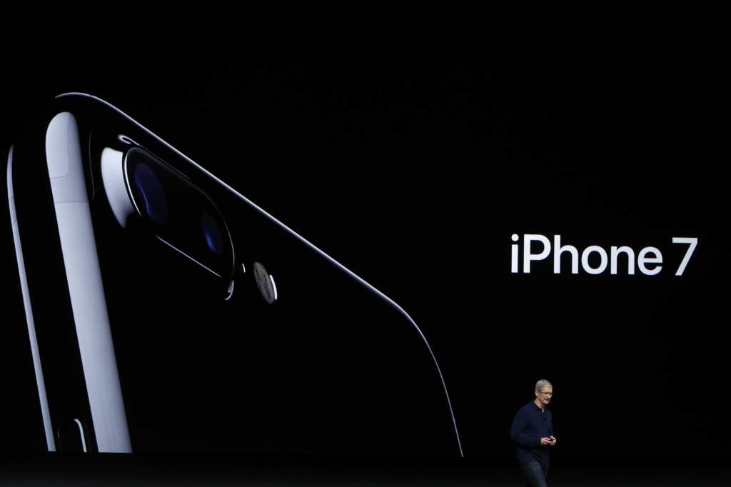 SAN FRANCISCO, CA - SEPTEMBER 07: Apple CEO Tim Cook announces the new Apple iPhone 7 during a launch event on September 7, 2016 in San Francisco, California. Apple Inc. is expected to unveil latest iterations of its smart phone, forecasted to be the iPhone 7. The tech giant is also rumored to be planning to announce an update to its Apple Watch wearable device. (Photo by Stephen Lam/Getty Images)