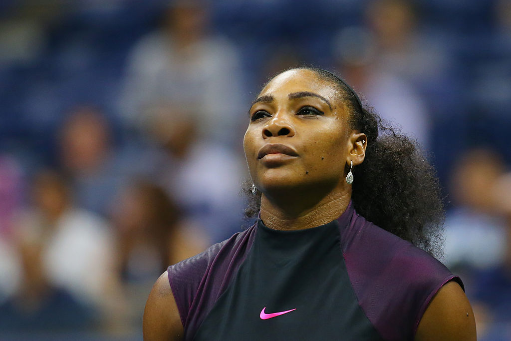 NEW YORK, NY - SEPTEMBER 08: Serena Williams of the United States reacts against Karolina Pliskova of the Czech Republic during her Women's Singles Semifinal Match on Day Eleven of the 2016 US Open at the USTA Billie Jean King National Tennis Center on September 8, 2016 in the Queens borough of New York City. (Photo by Mike Stobe/Getty Images for USTA)