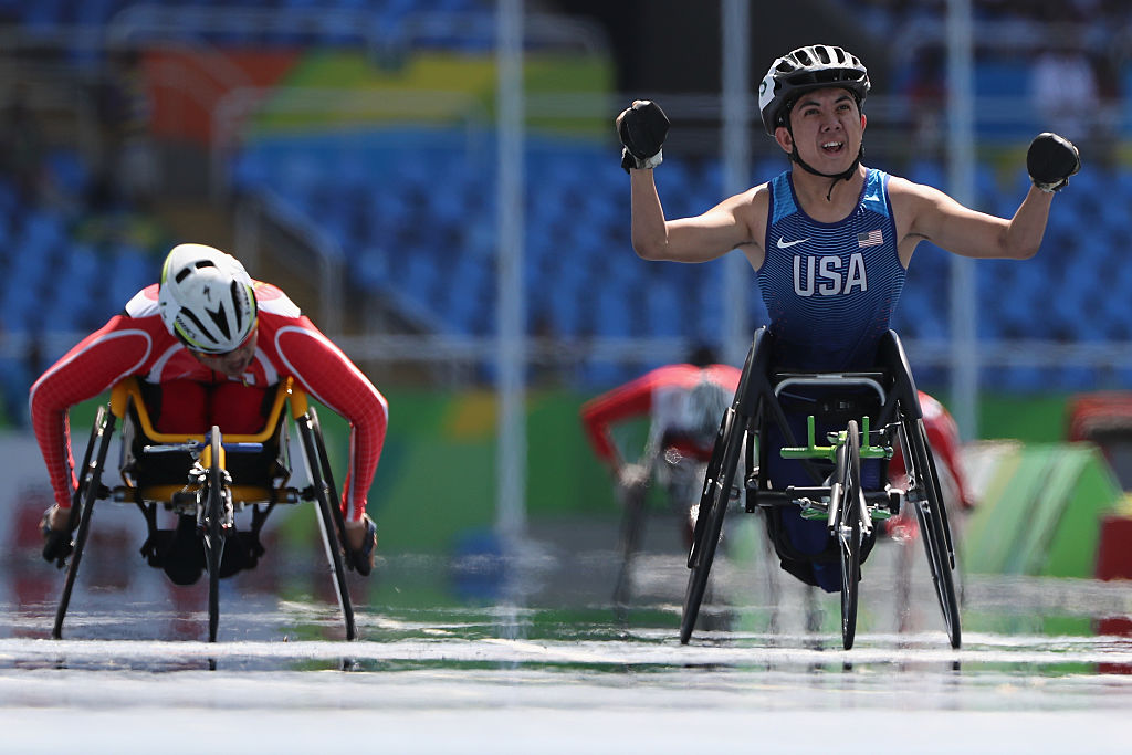 RIO DE JANEIRO, BRAZIL - SEPTEMBER 13: Raymond Martin of the United States wins the Men's 400 meter T52 final at Olympic Stadium during day 6 of the Rio 2016 Paralympic Games on September 13, 2016 in Rio de Janeiro, Brazil. (Photo by Buda Mendes/Getty Images)