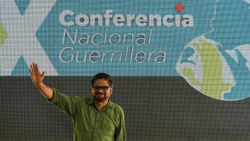A member of secretary of the Revolutionary Armed Forces of Colombia (FARC) Ivan Marquez takes part at the 10th National Guerrilla Conference in Llanos del yari, Caqueta department, Colombia, on September 18, 2016. After 52 years of armed conflict, FARC rebels open what leaders hope will be their last conference as a guerrilla army, where they are due to vote on a historic peace deal with the Colombian government. / AFP / LUIS ACOSTA (Photo credit should read LUIS ACOSTA/AFP/Getty Images)