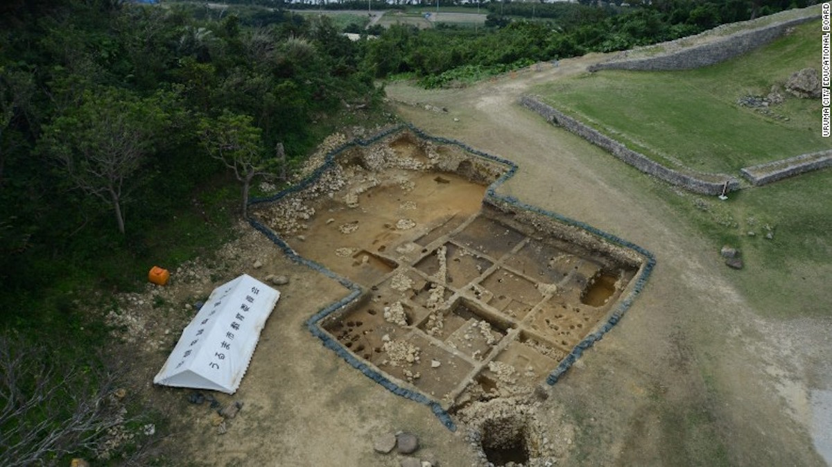 Una vista aérea del lugar de excavación del castillo de Kasturen.