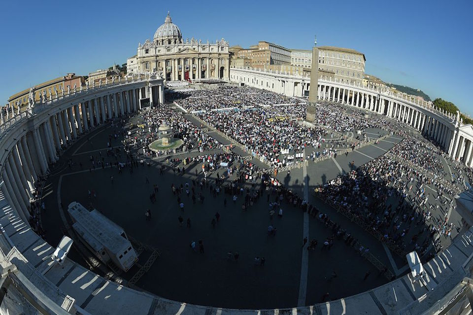 "A general view shows St Peter's square and St Peter's basilica during a canonization mass led by Pope Francis on October 16, 2016 in Vatican. Pope Francis canonises Argentine ""gaucho priest"" Jose Gabriel Brochero today along with six others raised to sainthood : Salomon Leclercq, Jose Sanchez del Río, Manuel Gonzalez Garcia, Lodovico Pavoni, Alfonso Maria Fusco and Elizabeth of the Trinity. Jose Gabriel del Rosario Brochero, born 1849 in the province of Cordoba, spent his days ministering to the poor and the sick, travelling the region on the back of a mule, and building church schools. / AFP / ANDREAS SOLARO (Photo credit should read ANDREAS SOLARO/AFP/Getty Images)"