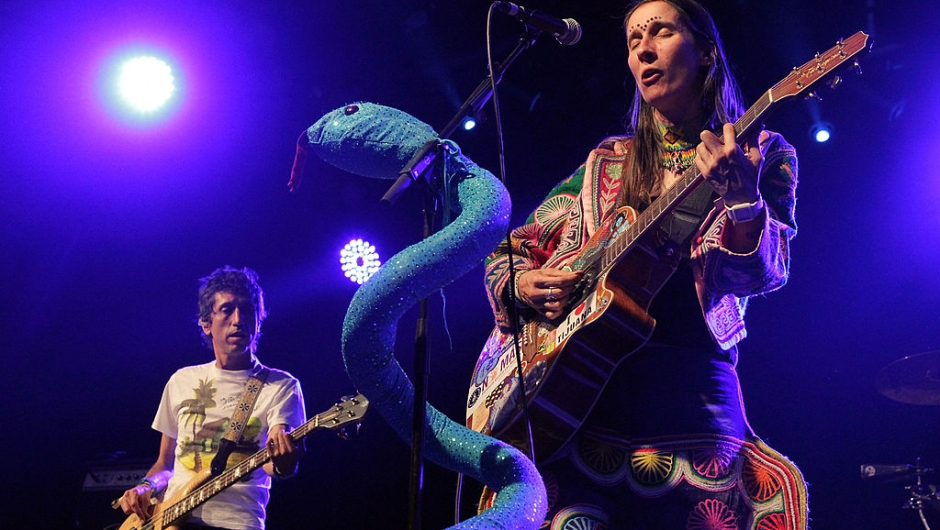 INDIO, CA - APRIL 17: Musicians Hector Buitrago (L) and Andrea Echeverri of the band Aterciopelados performs during day two of the Coachella Valley Music & Arts Festival 2010 held at the Empire Polo Club on April 17, 2010 in Indio, California. (Photo by Noel Vasquez/Getty Images)