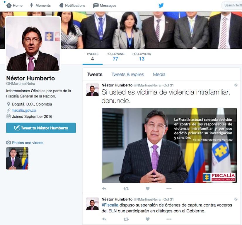 Así lucía la página de inicio de la cuenta apócrifa del fiscal Néstor Humberto Martínez. (Crédito: Twiter)