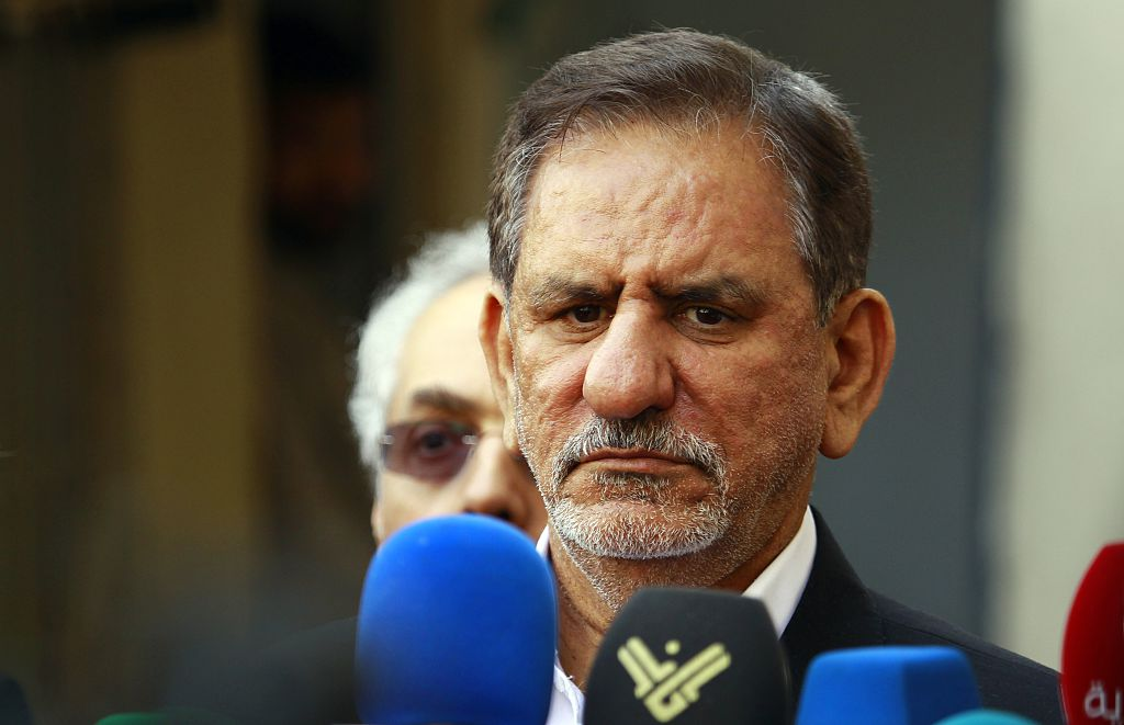 Iranian Vice-President Eshaq Jahangiri gives a press conference after visiting Iraq's top Shiite cleric Grand Ayatollah Ali al-Sistani in the central Iraqi city of Najaf on February 18, 2015. AFP PHOTO / HAIDAR HAMDANI (Photo credit should read HAIDAR HAMDANI/AFP/Getty Images)