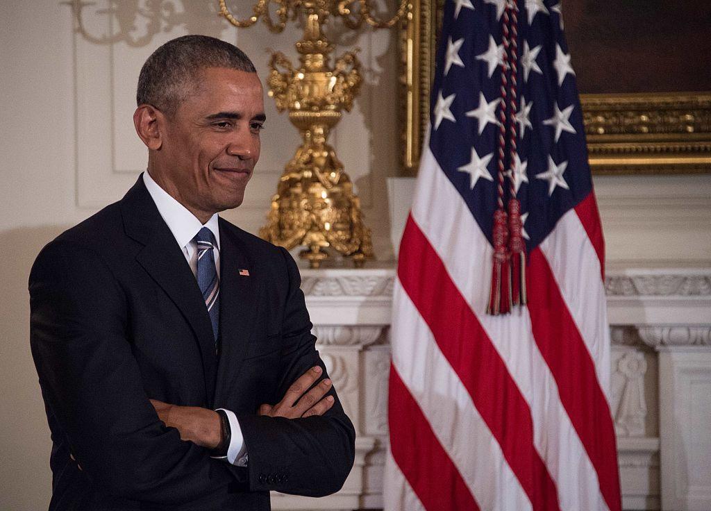 El presidente Barack Obama durante el tributo que le rindió al vicepresidente Joe Biden en la Casa Blanca el pasado 12 de enero de 2017 cuando le entregó la medalla de la libertad. (Crédito: NICHOLAS KAMM/AFP/Getty Images)