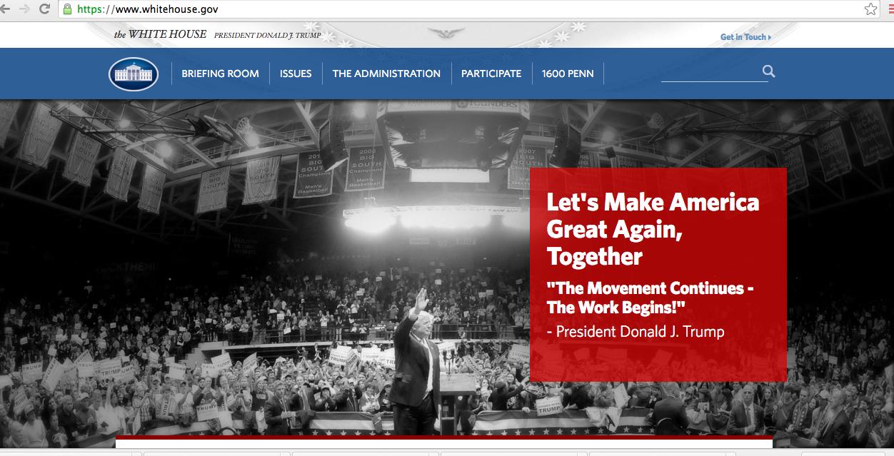 Así luce la nueva página de la Casa Blanca.