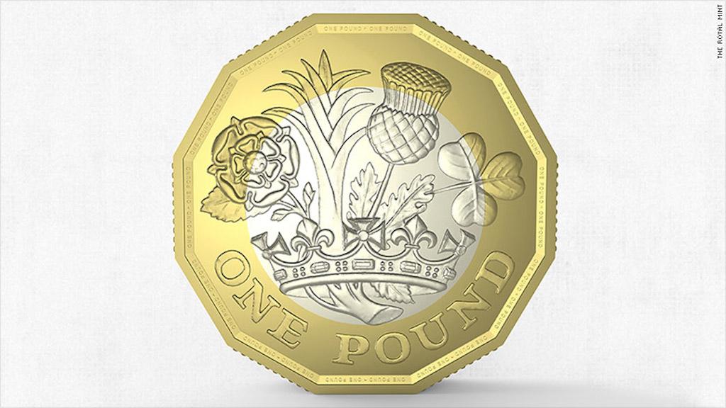 Este lado de la nueva moneda de 1 libra fue diseñada por el adolescente británico David Pearce. (Crédito: The Royal Mint)