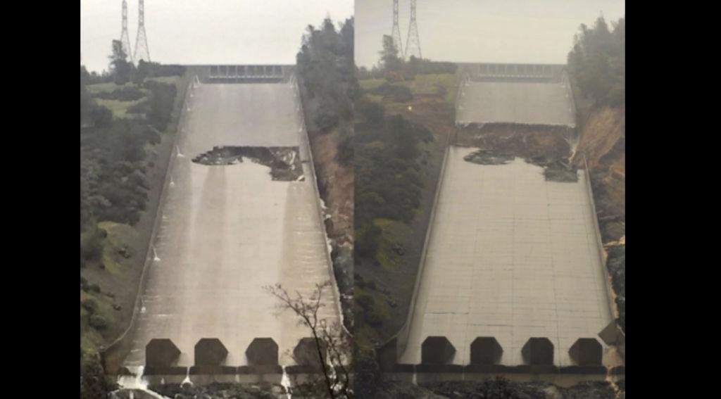 Así luce el daño en el sistema de desagüe de la presa de California. (Crédito: Twitter/ CANGJOCOPS)