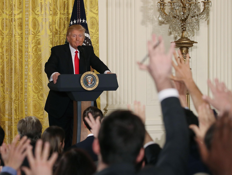 Donald Trump durante su conferencia de prensa de este jueves en Washington. (Crédito: Mark Wilson/Getty Images)
