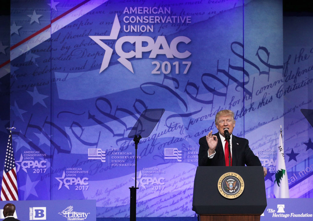 NATIONAL HARBOR, MD - FEBRUARY 24: U.S. President Donald Trump addresses the Conservative Political Action Conference at the Gaylord National Resort and Convention Center February 24, 2017 in National Harbor, Maryland. Hosted by the American Conservative Union, CPAC is an annual gathering of right wing politicians, commentators and their supporters. (Photo by Alex Wong/Getty Images)