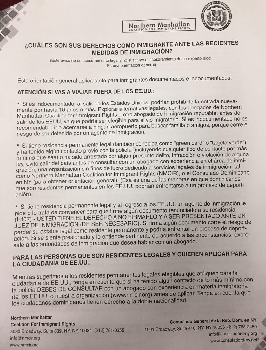 Reproducción del comunicado. (Cortesía: Consulado de República Dominicana en Nueva York).