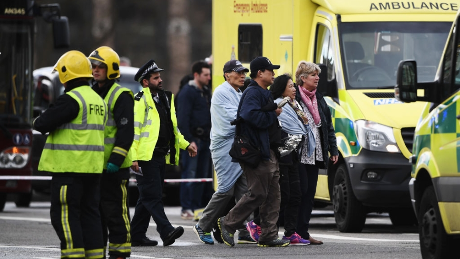 near Westminster Bridge and the Houses of Parliament on March 22, 2017 in London, England. A police officer has been stabbed near to the British Parliament and the alleged assailant shot by armed police. Scotland Yard report they have been called to an incident on Westminster Bridge where several people have been injured by a car.