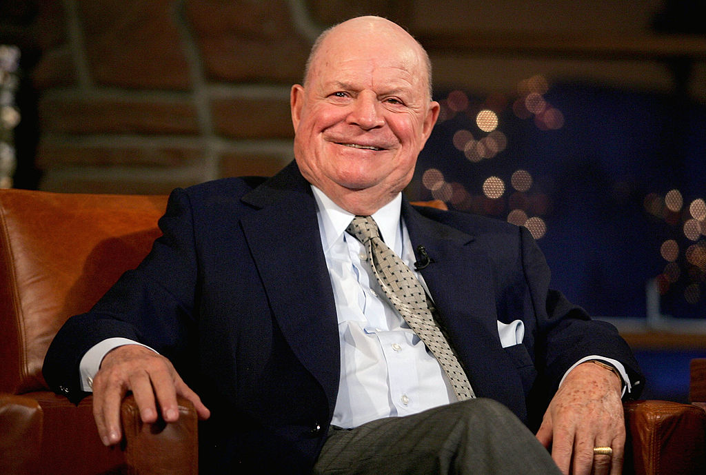 """LOS ANGELES - MARCH 1: Comedian Don Rickles appears on the """"Late Late Show"""" with host Craig Ferguson at CBS Television City on March 1, 2005 in Los Angeles, California. (Photo by Mark Mainz/Getty Images)"""
