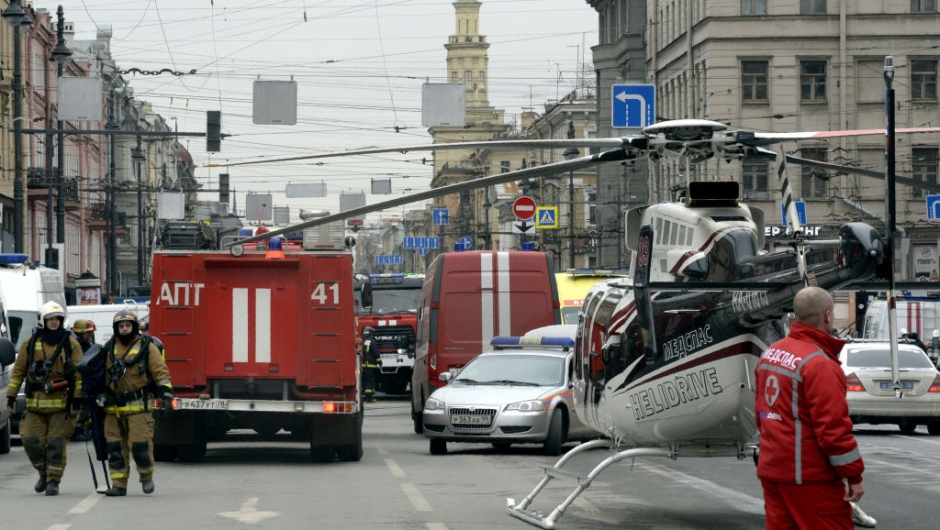 Emergency services personnel and vehicles are seen at the entrance to Technological Institute metro station in Saint Petersburg on April 3, 2017. Around 10 people were feared dead and dozens injured Monday after an explosion rocked the metro system in Russia's second city Saint Petersburg, according to authorities, who were not ruling out a terror attack. / AFP PHOTO / Olga MALTSEVA (Photo credit should read OLGA MALTSEVA/AFP/Getty Images)