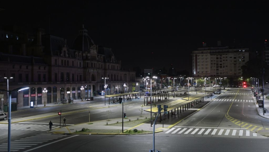 View of empty bus stops in front of Constitucion train station in Buenos Aires on April 6, 2017, during a 24hs general strike. A 24 hours general strike was called by worker's unions demanding to President Mauricio Macri's government to take measures against inflation and keep campaign promises. / AFP PHOTO / JUAN MABROMATA (Photo credit should read JUAN MABROMATA/AFP/Getty Images)