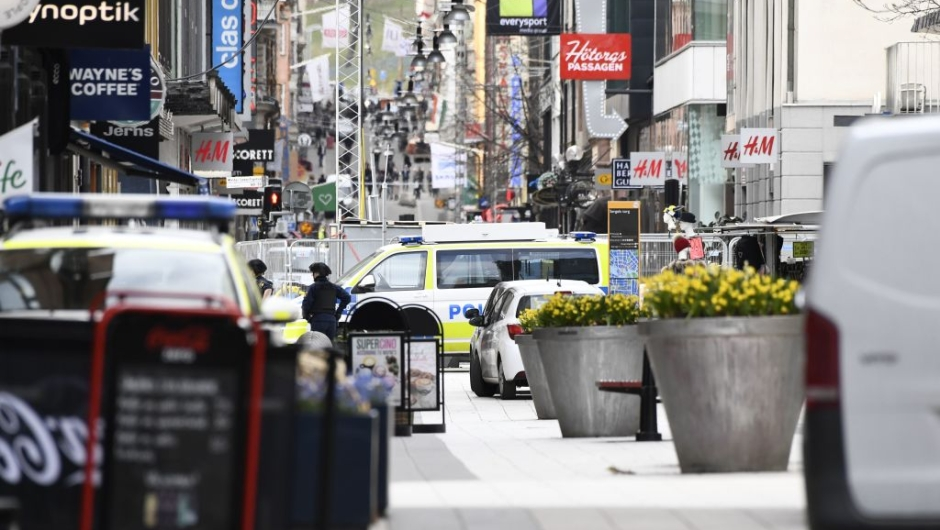 Emergency services work at the scene where a truck crashed into the Ahlens department store at Drottninggatan in central Stockholm, April 7, 2017. / AFP PHOTO / Jonathan NACKSTRAND (Photo credit should read JONATHAN NACKSTRAND/AFP/Getty Images)