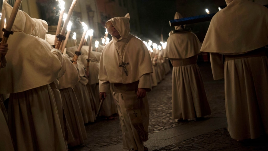 ZAMORA, SPAIN - APRIL 11: Penitents from the Cristo de la Buena Muerte (Good Dead Christ) brotherhood take part in a procession in the early hours of the morning on April 11, 2017 in Zamora, Spain. Spain celebrates holy week before Easter with processions in most Spanish towns and villages. (Photo by Pablo Blazquez Dominguez/Getty Images)