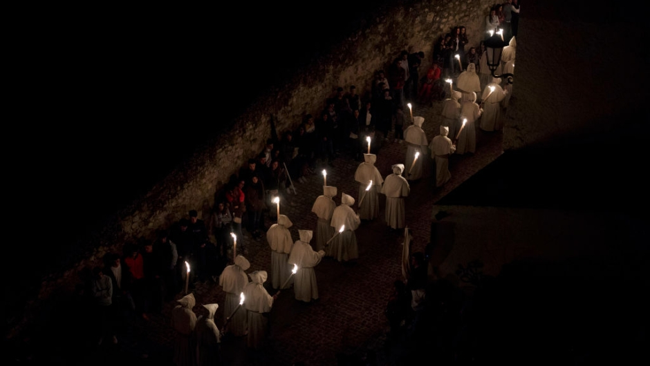 Good Dead Christ) brotherhood take part in a procession in the early hours of the morning on April 11, 2017 in Zamora, Spain. Spain celebrates holy week before Easter with processions in most Spanish towns and villages. (Photo by Pablo