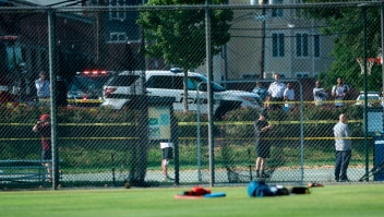 A view of a baseball field after a shooting during a practice of the Republican congressional baseball at Eugene Simpson Statium Park June 14, 2017 in Alexandria, Virginia. At least five people people including a top Republican congressman were wounded in a Washington suburb early Wednesday morning when a shooting erupted as they practiced for an annual baseball game between lawmakers. Senior congressman Steve Scalise was shot in the hip, according to fellow Republican lawmaker Mo Brooks who told CNN at least two law enforcement officers and one congressional staffer were also shot in the incident in Alexandria, Virginia. / AFP PHOTO / Brendan Smialowski (Photo credit should read BRENDAN SMIALOWSKI/AFP/Getty Images)