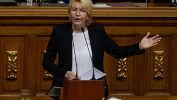 Attorney General Luisa Ortega, the most high-profile official to break ranks with Venezuelan President Nicolas Maduro, delivers a speech during a session of the National Assembly in Caracas, on July 3, 2017. A political and economic crisis in the oil-producing country has spawned often violent demonstrations by protesters demanding Maduro's resignation and new elections. The unrest has left 89 people dead since April 1. / AFP PHOTO / Federico PARRA (Photo credit should read FEDERICO PARRA/AFP/Getty Images)